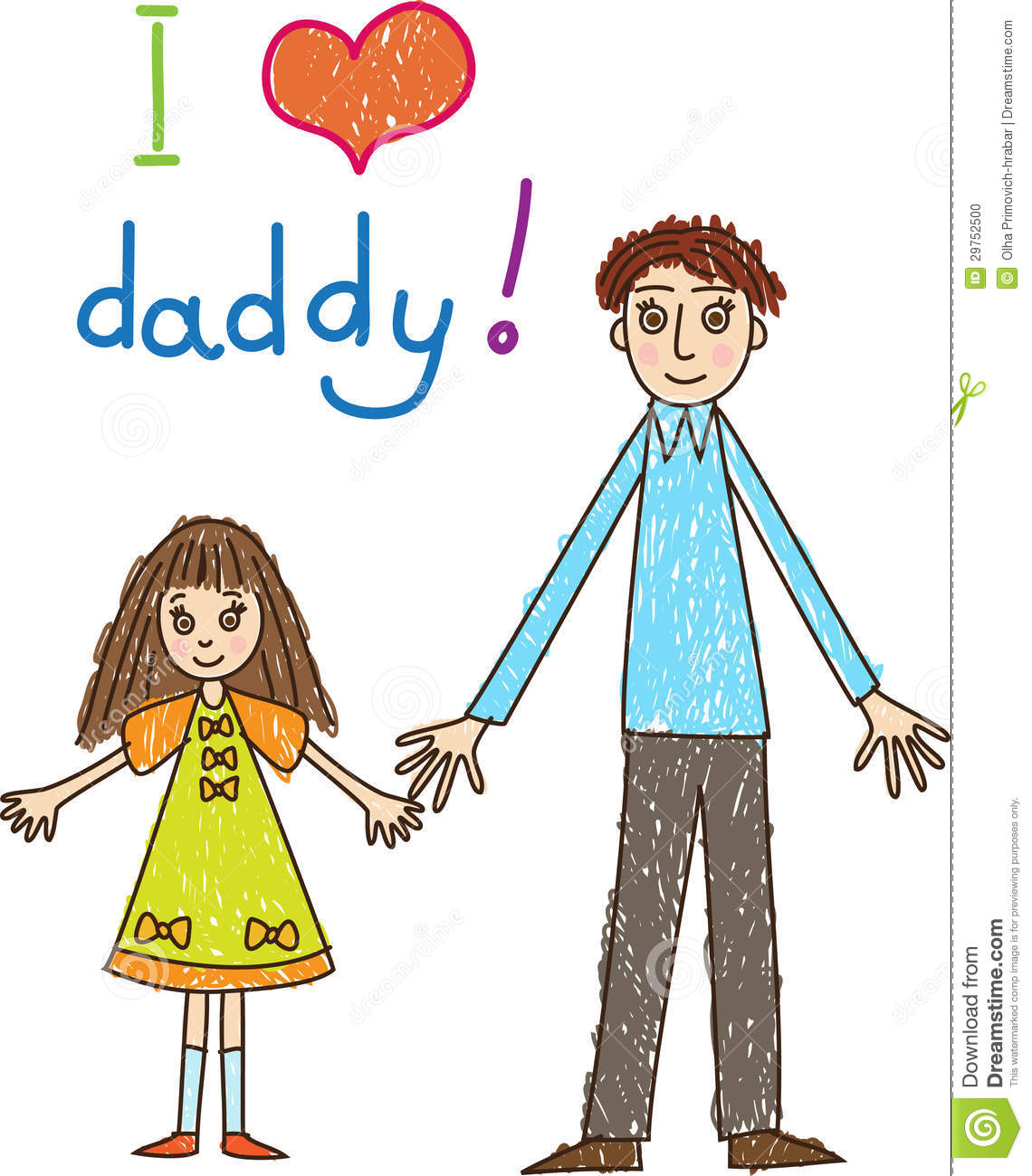 Childrens drawing with an inscription i love you daddy the father