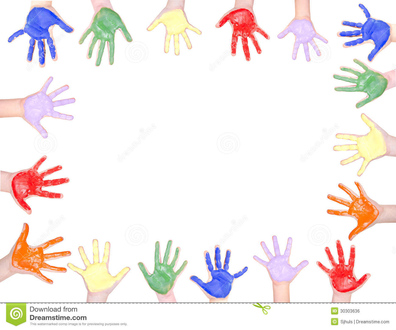 Childrens hands painted in rainbow colors for a frame isolated on ...
