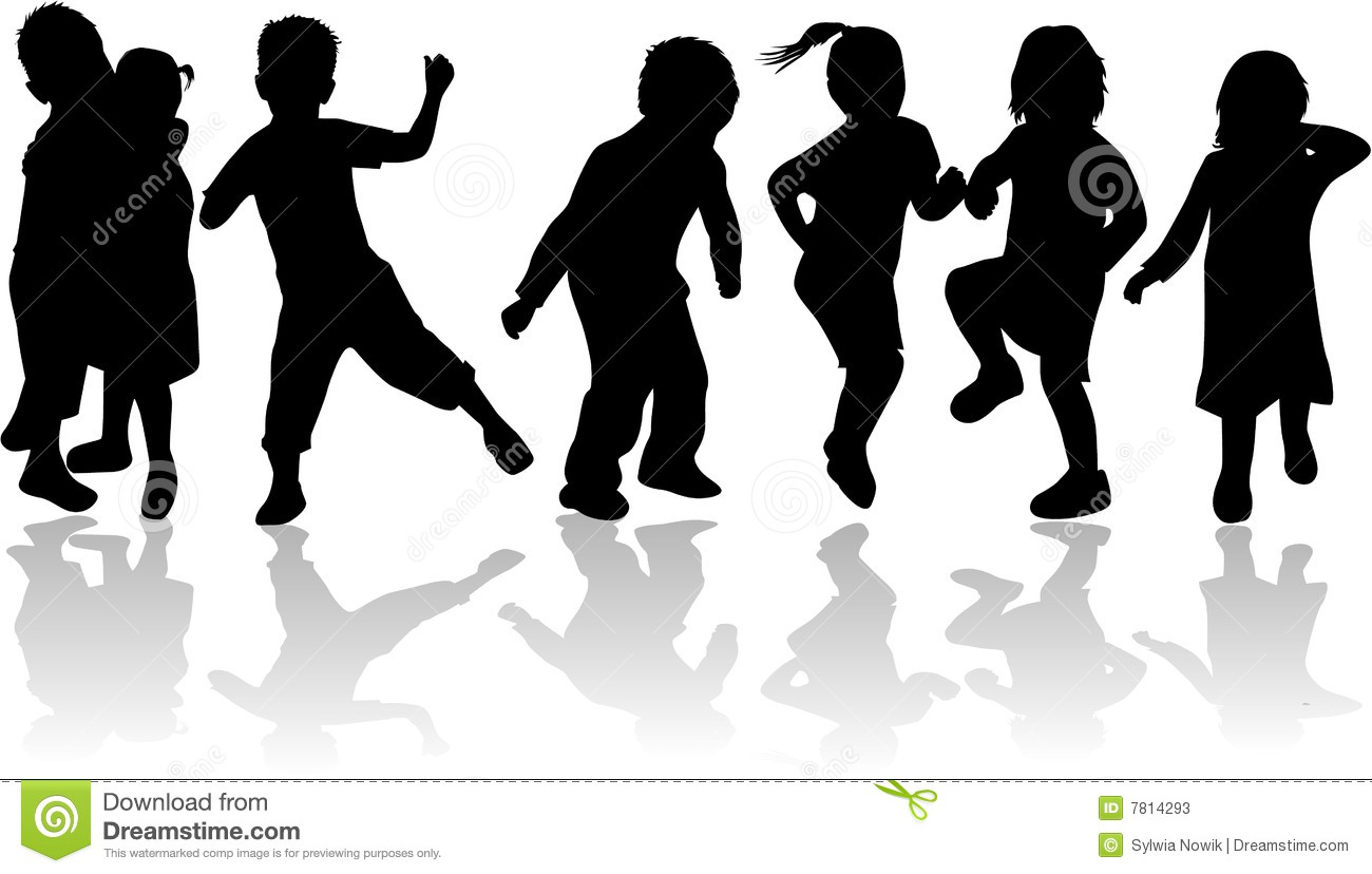 Childrens , Kids - Black Silhouettes Stock Photos - Image: 7814293