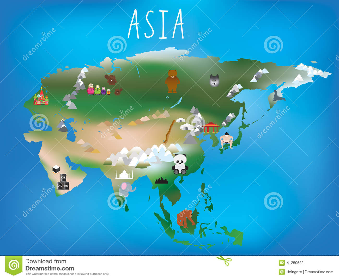 Childrens Map Asia And Asian Continent With Landm Vector – Map of Asian Continent