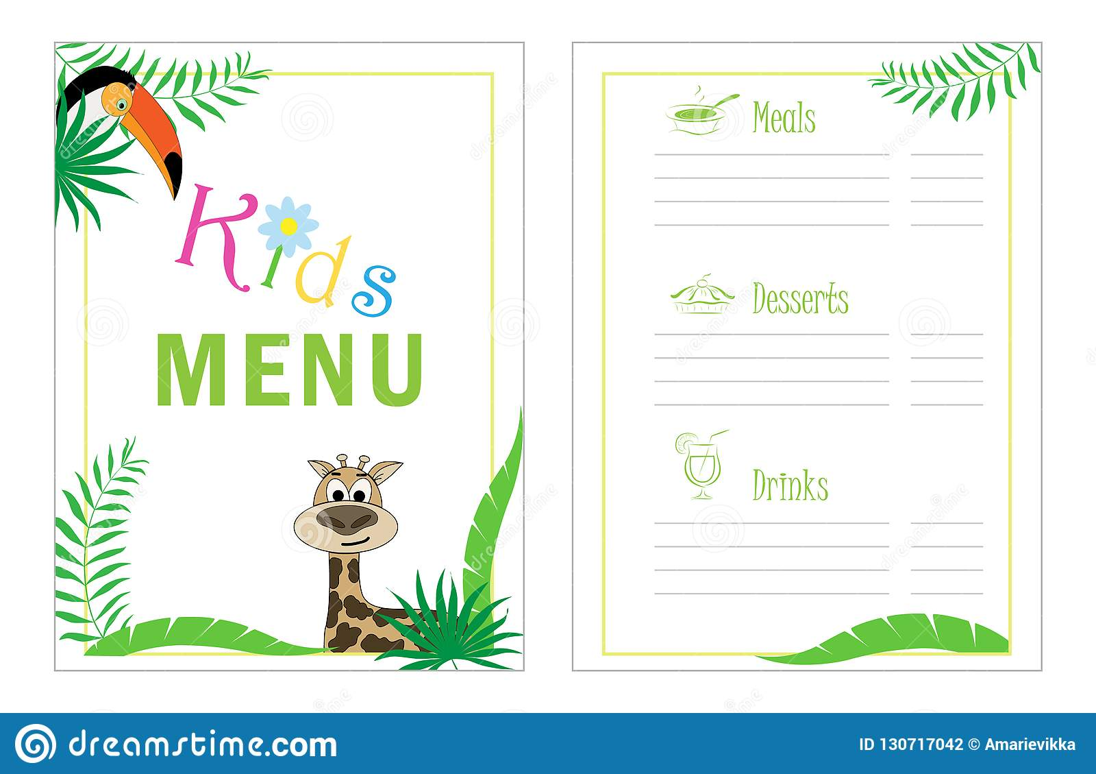 childrens menu template cafe menu design for kids kid menu frame