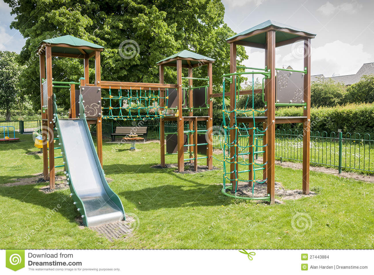 Childrens Outdoor Wooden Climbing Frame Stock Images