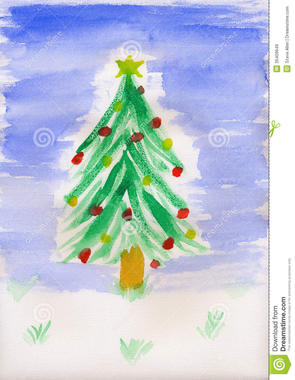 childrens painting christmas tree royalty free stock images