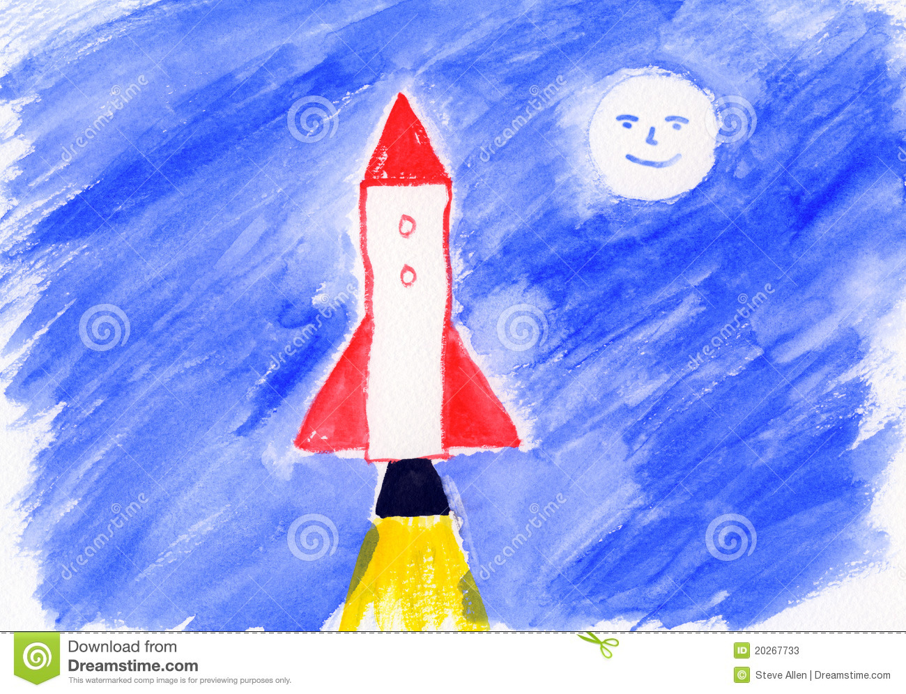 Childrens Painting - Rocket - Artwork Stock Photos - Image: 20267733