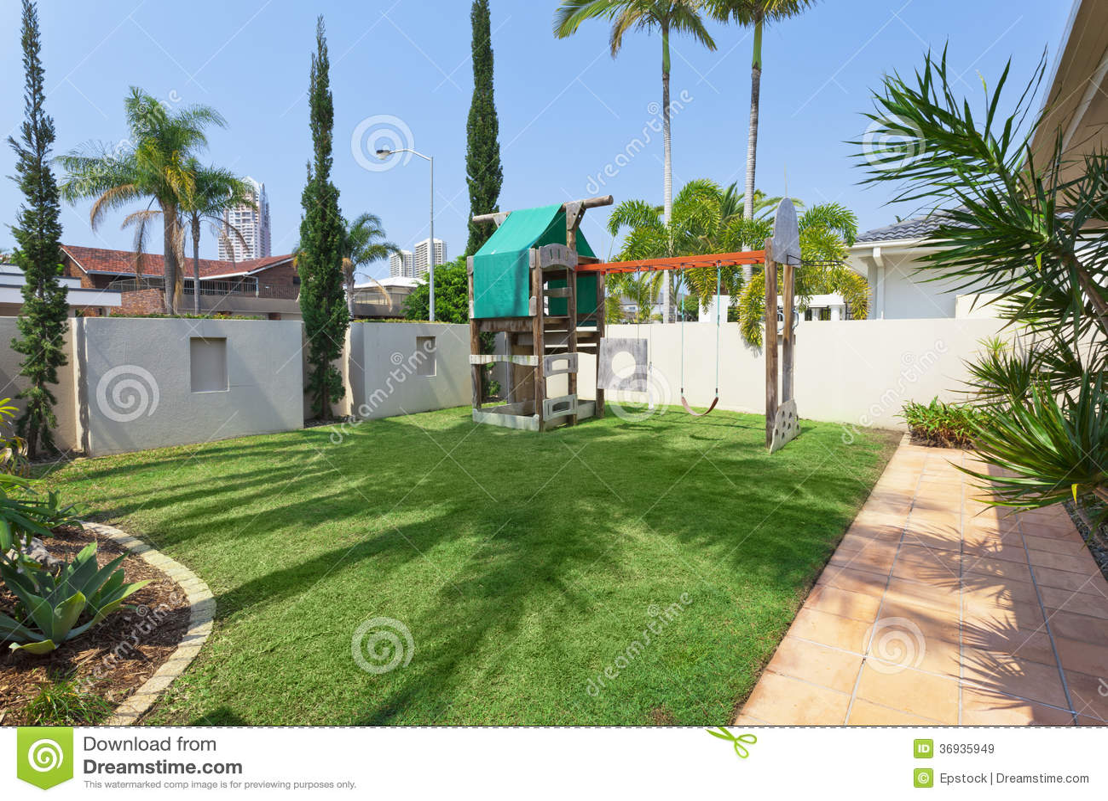 kids playground in modern australian backyard