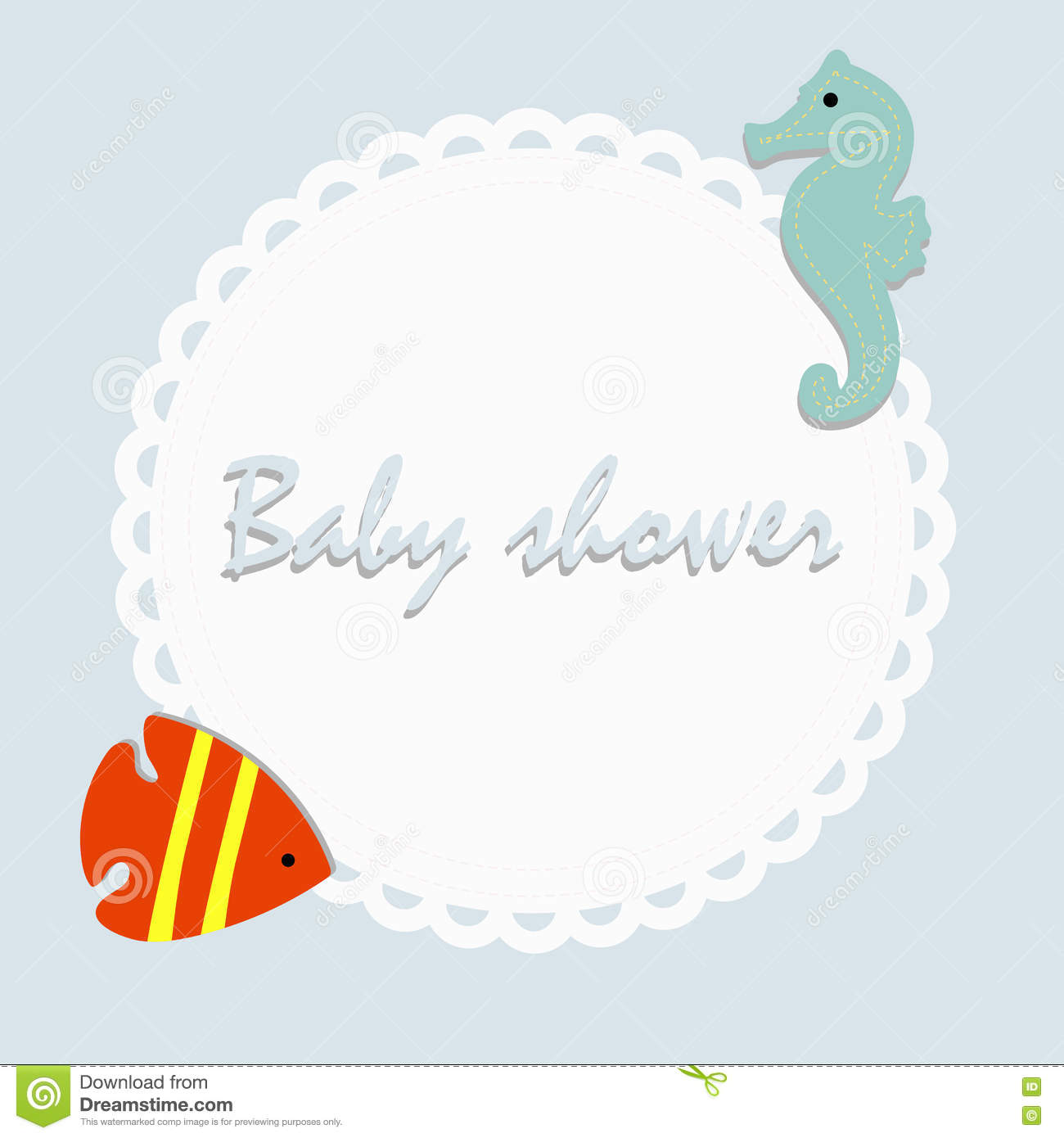childrens round frame on a blue background with cute sea creatures