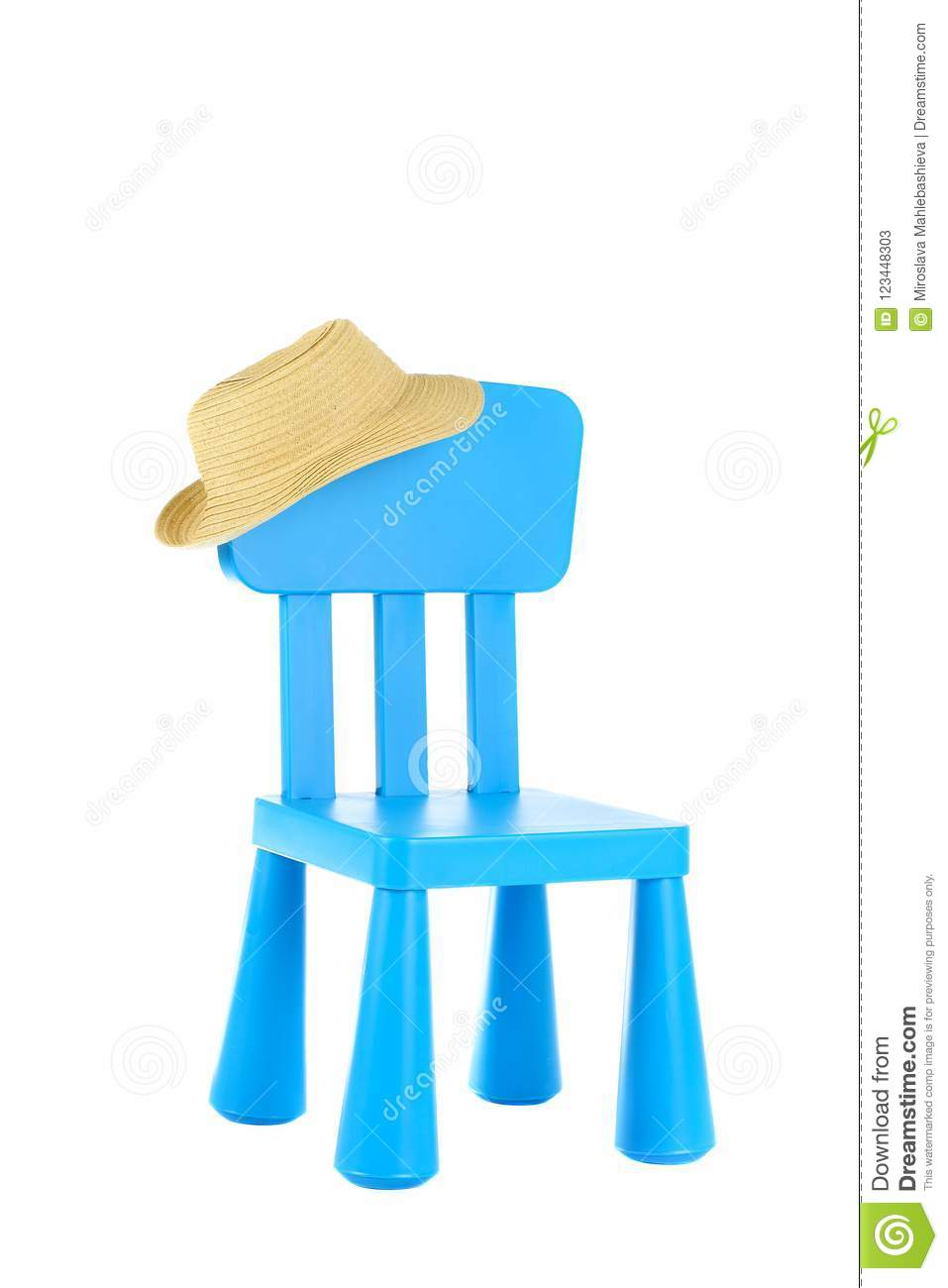 Childrens Straw Hat Hanging On A Blue Plastic Kids Chair Isolated On White Background Stock Image Image Of Hanging Season 123448303
