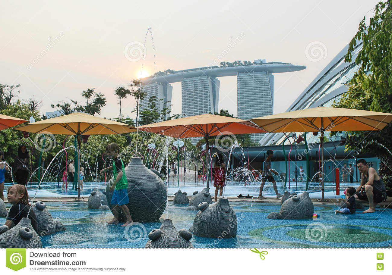 A Childrens Water Play Area At Gardens By The Bay Editorial Photography Image Of Waterpark