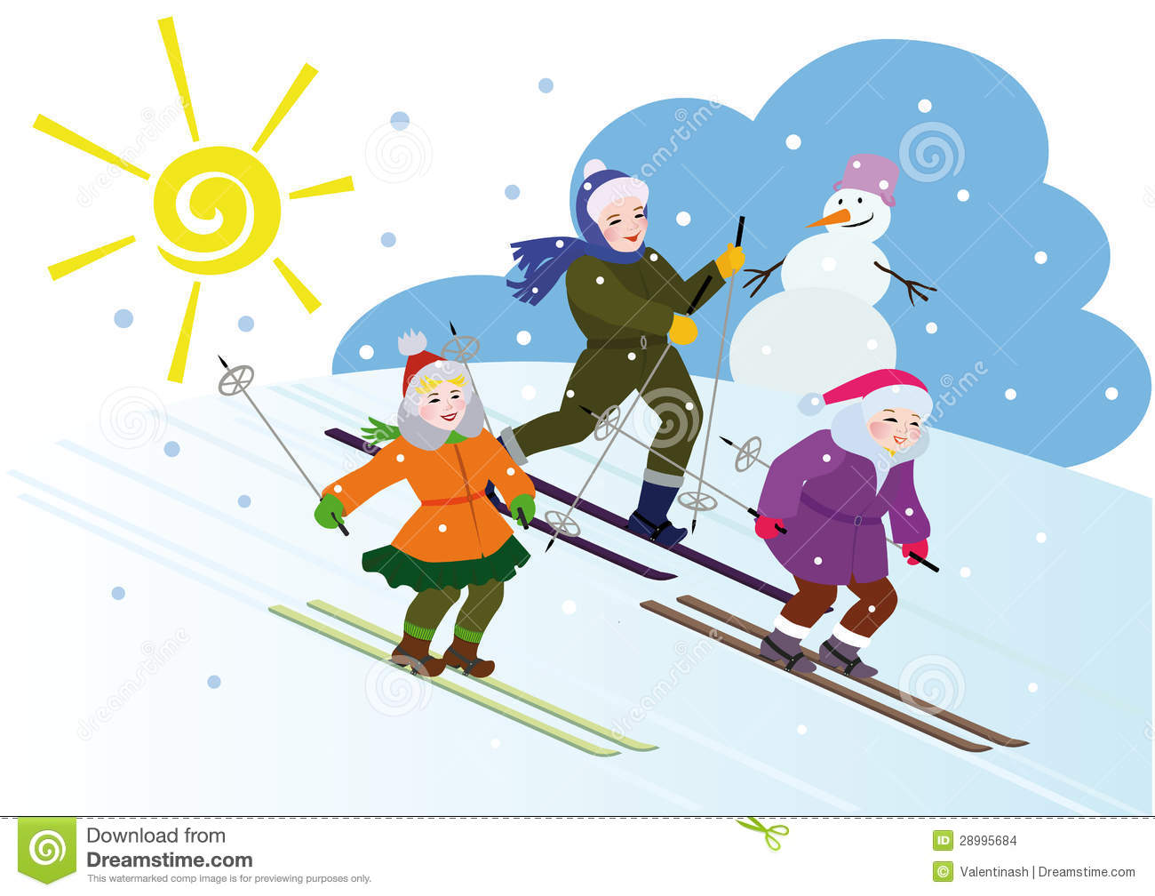 Childrens Winter Vacation Stock Vector. Illustration Of