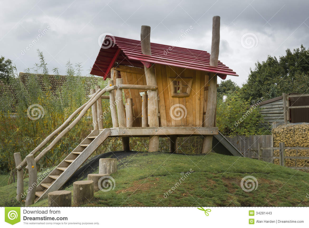 Childrens Wooden Playhouse Stock Photos - Image: 34281443