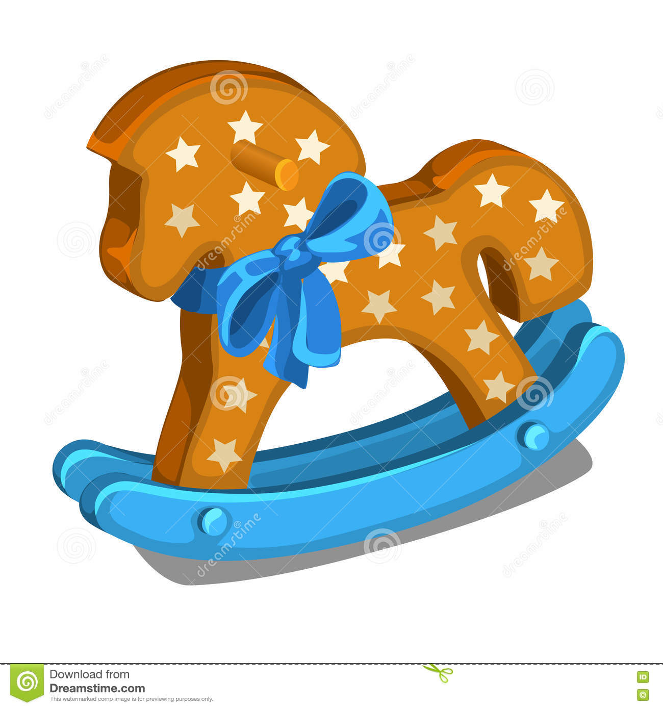 Childrens Wooden Rocking Horse With Blue Bow Stock Vector
