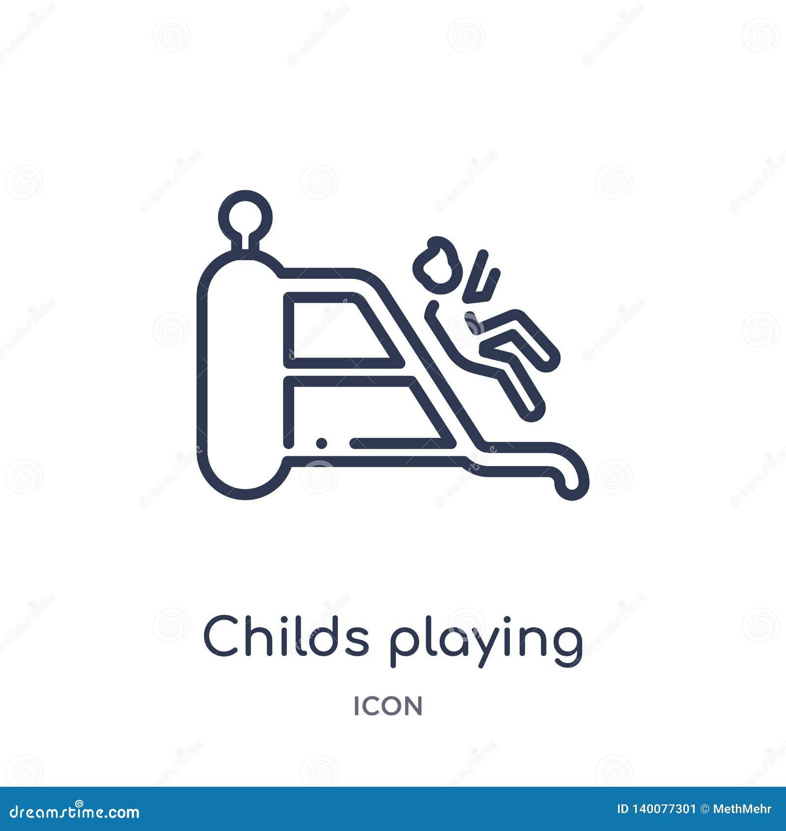 Childs παίζοντας στο εικονίδιο playgrpound από τη συλλογή περιλήψεων ανθρώπων Λεπτή γραμμή childs που παίζει στο εικονίδιο playgr