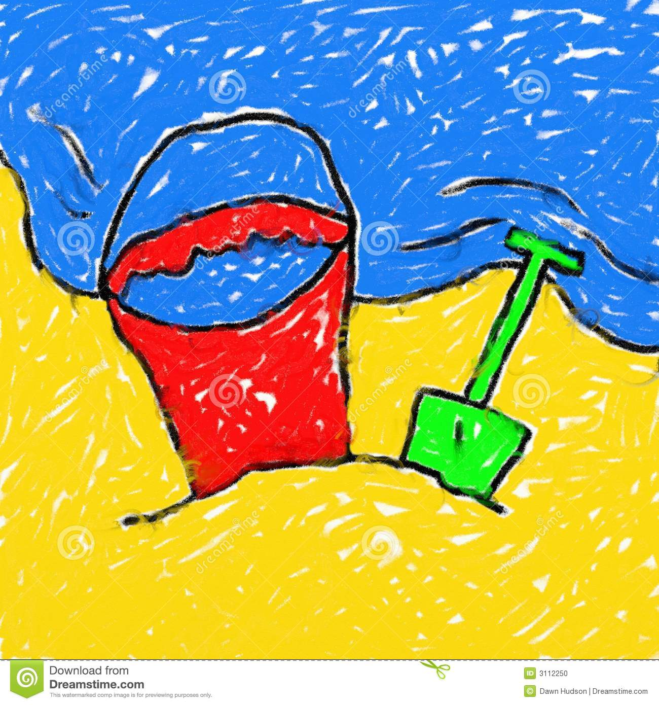 Style Smudgy Chalk Drawing Of A Kids Bucket And Spade On The Beach