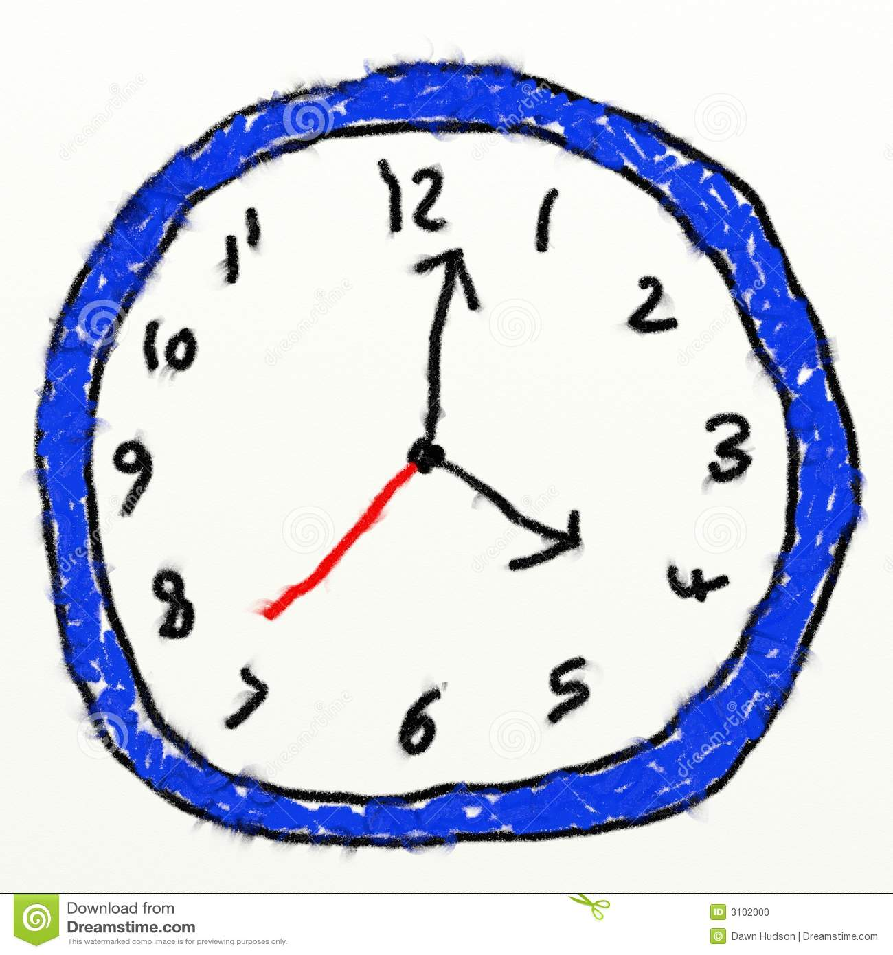 Childs style smudgy chalk drawing of a analogue clock isolated on ...
