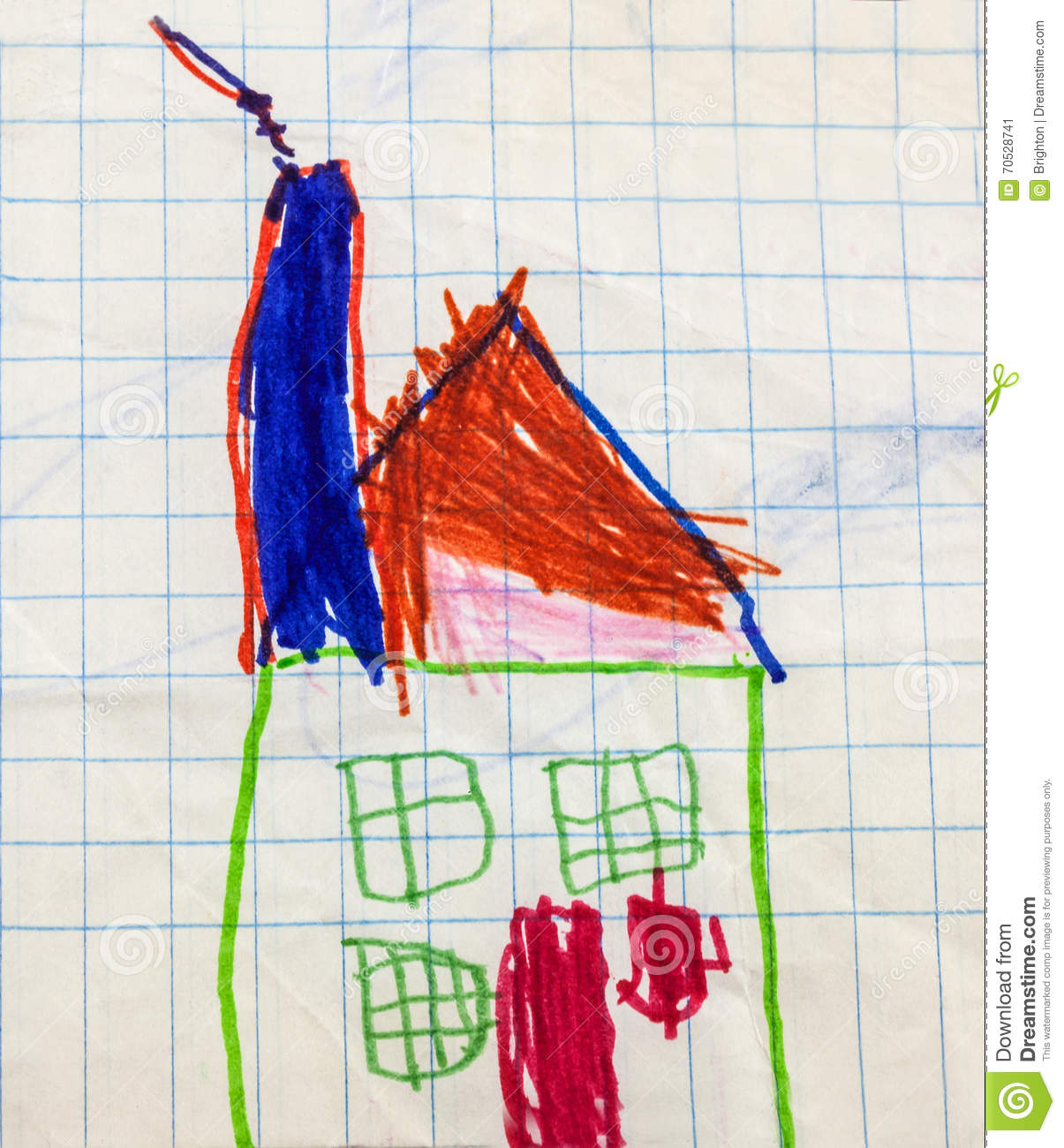 Childs drawing of colourful house stock illustration
