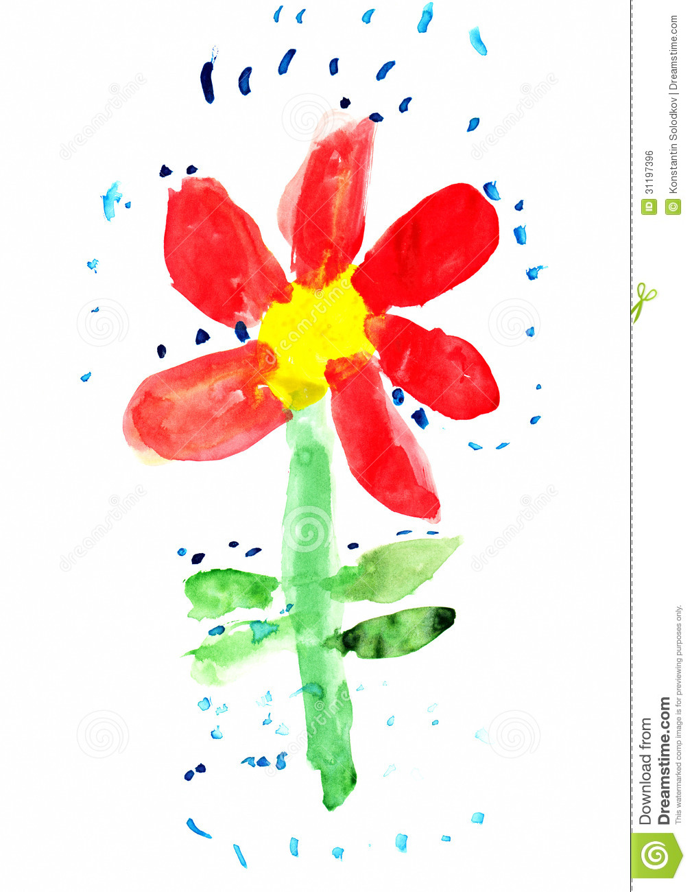 Flower Child Line Drawing : Childs drawing of flower stock illustration image