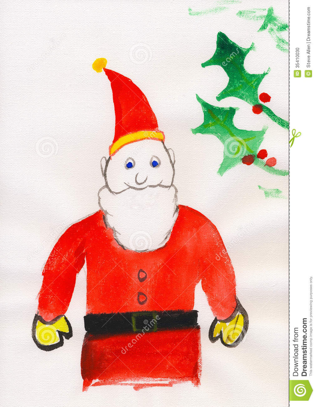 Childs painting father christmas santa claus stock