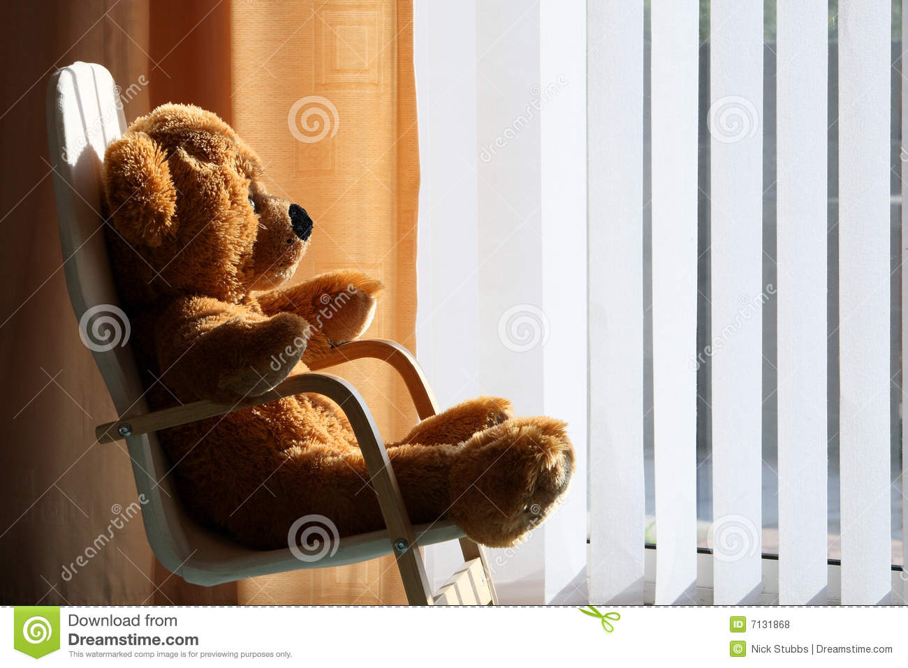 Childs Teddy Bear Relaxing In The Sunshine Royalty Free