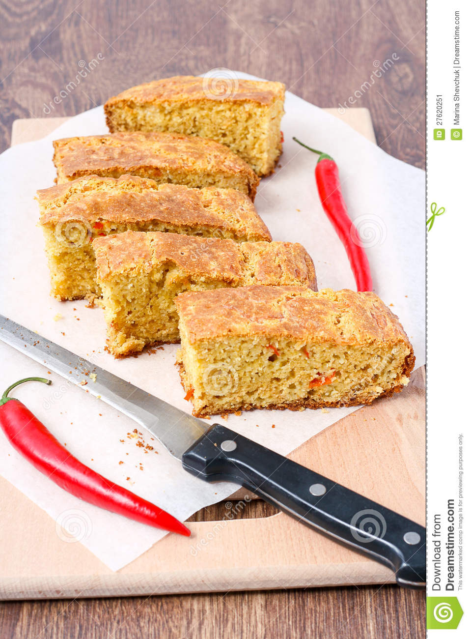 Chile Cheese Cornbread Stock Image - Image: 27620251