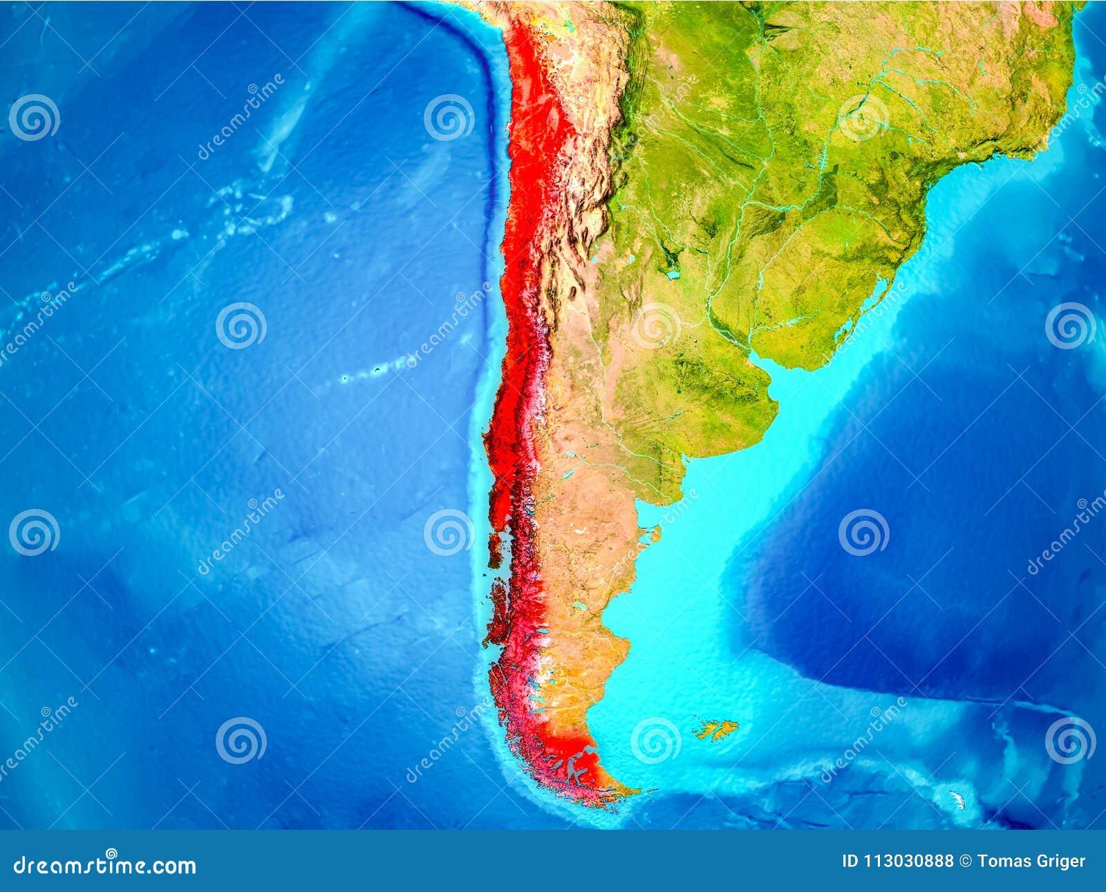 Chile en rojo en la tierra