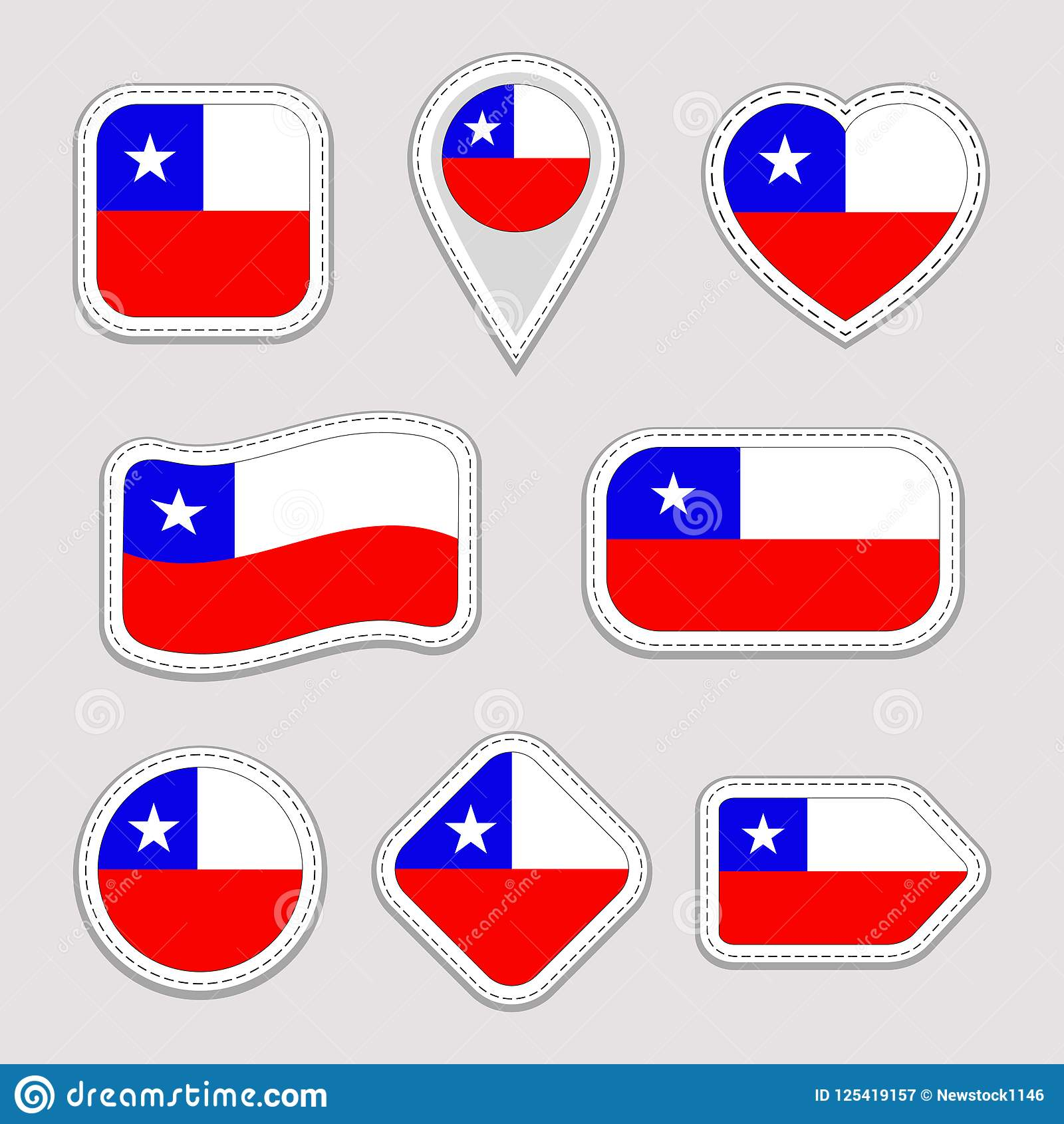 Chile Flag Vector Set Chilean Flags Stickers Collection Isolated