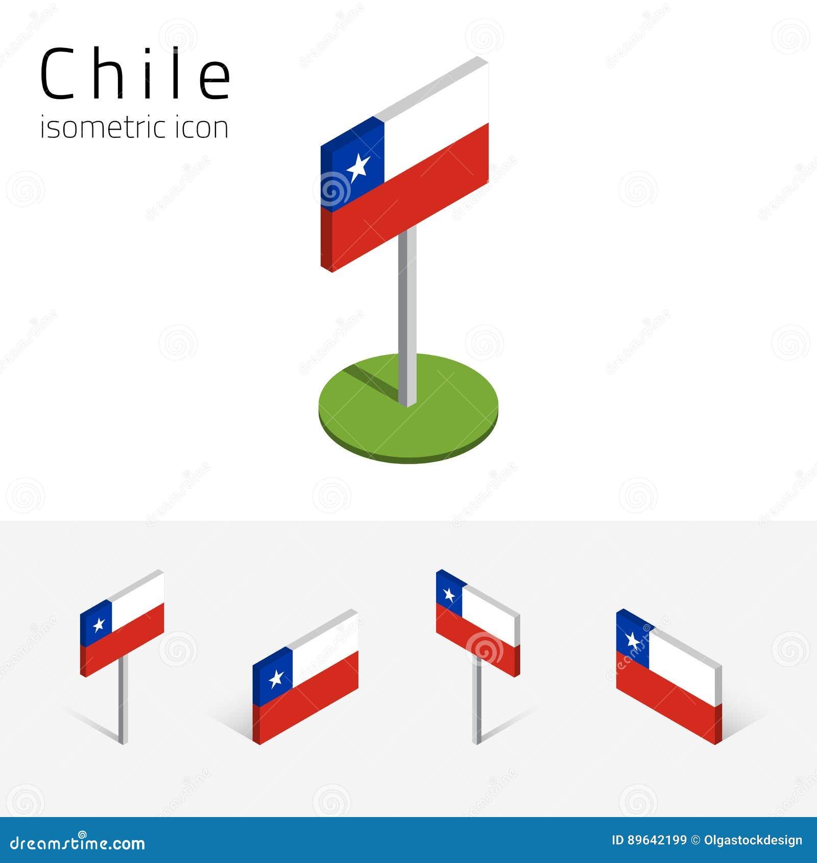 Chile flagga, vektoruppsättning av isometriska plana symboler 3D