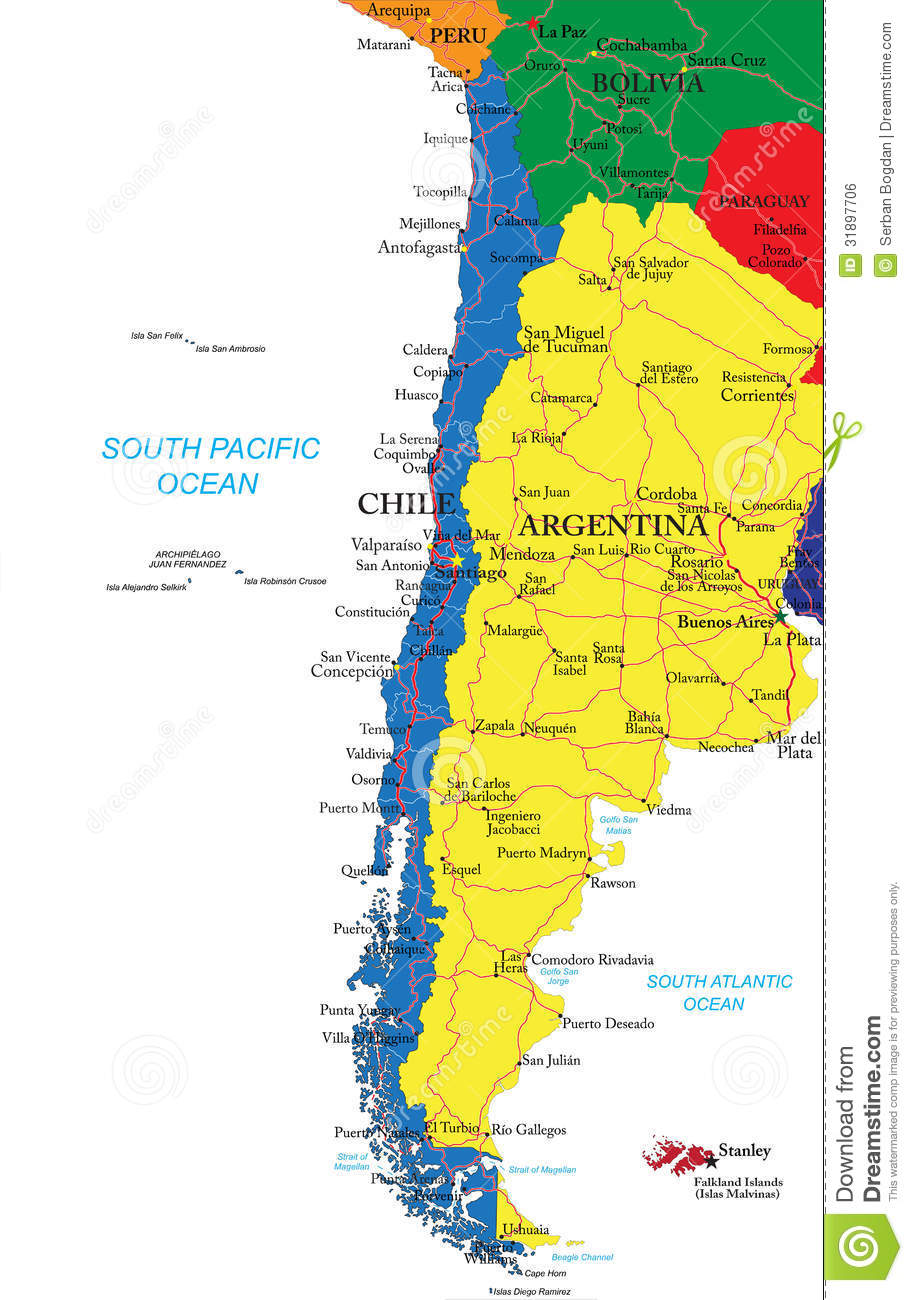 Chile Map Royalty Free Stock Image Image - Chile cities maps