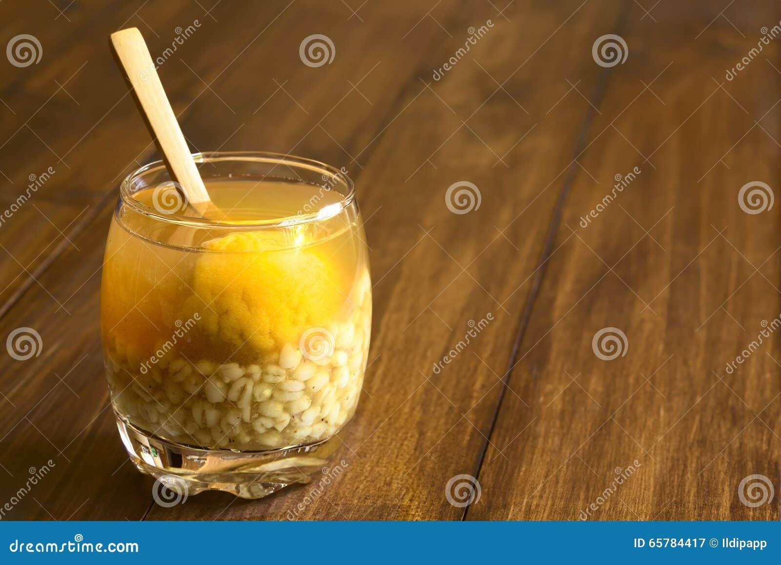 Chilean Mote con Huesillo Drink