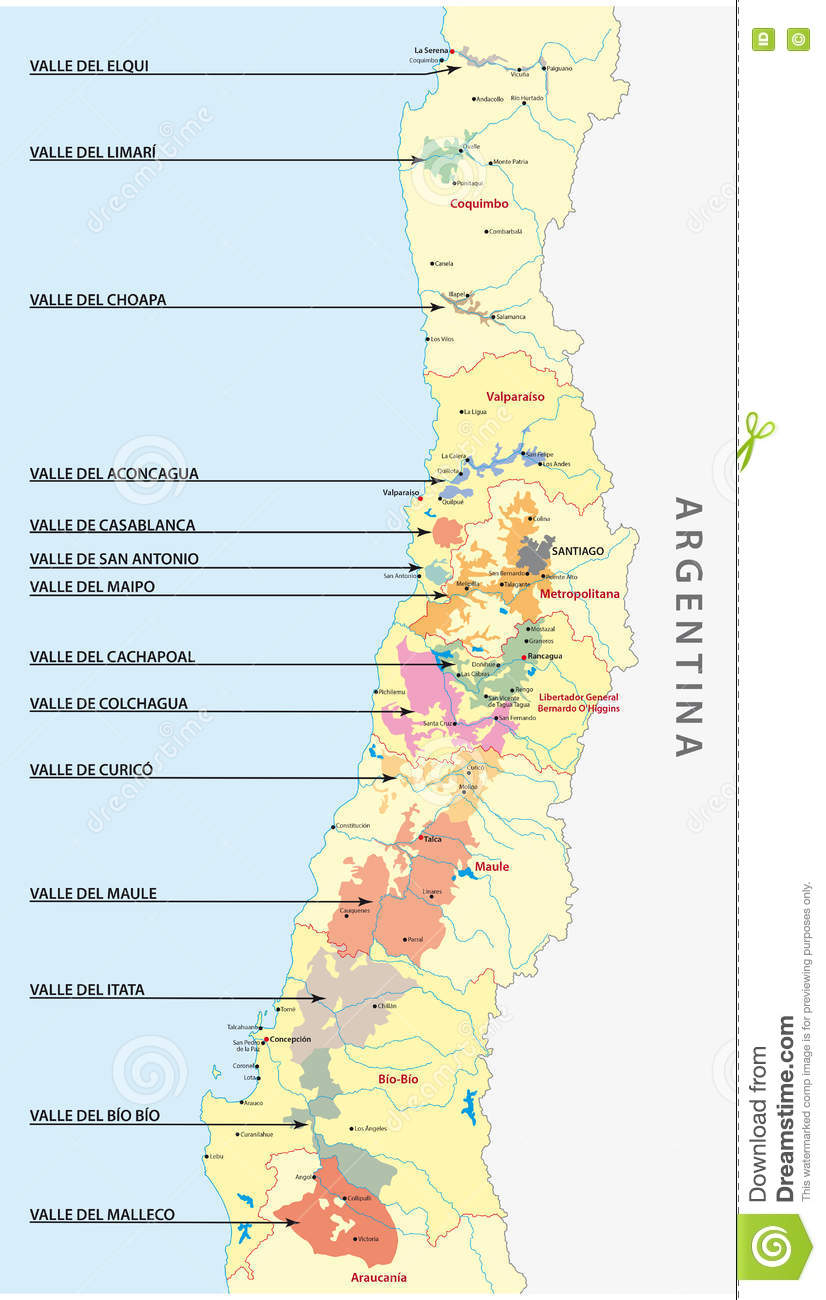 Chilean wine country map stock illustration. Illustration of chile on