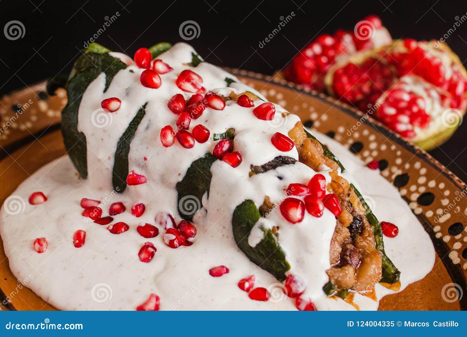 Chiles En Nogada Traditional Mexican Cuisine In Puebla Mexico Stock Image Image Of Comida Mexico 124004335