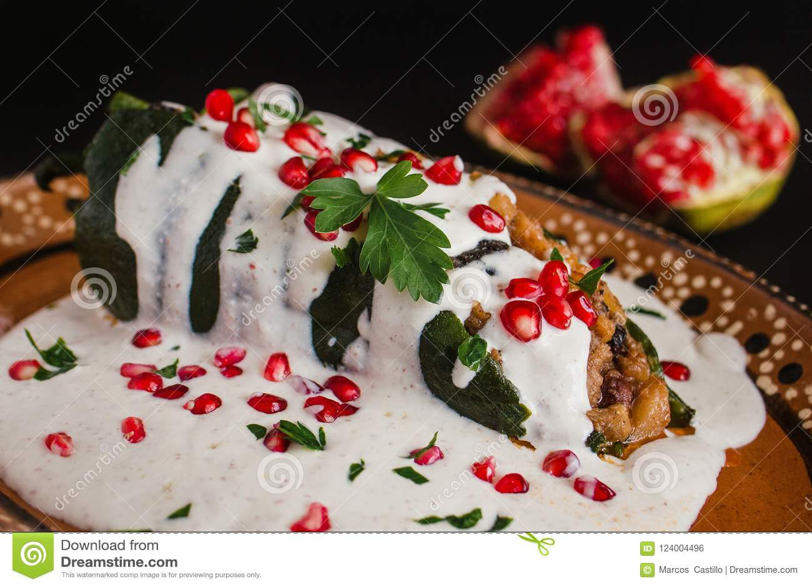 Chiles En Nogada Traditional Mexican Cuisine In Puebla Mexico Stock Photo Image Of Pepper Bark 124004496