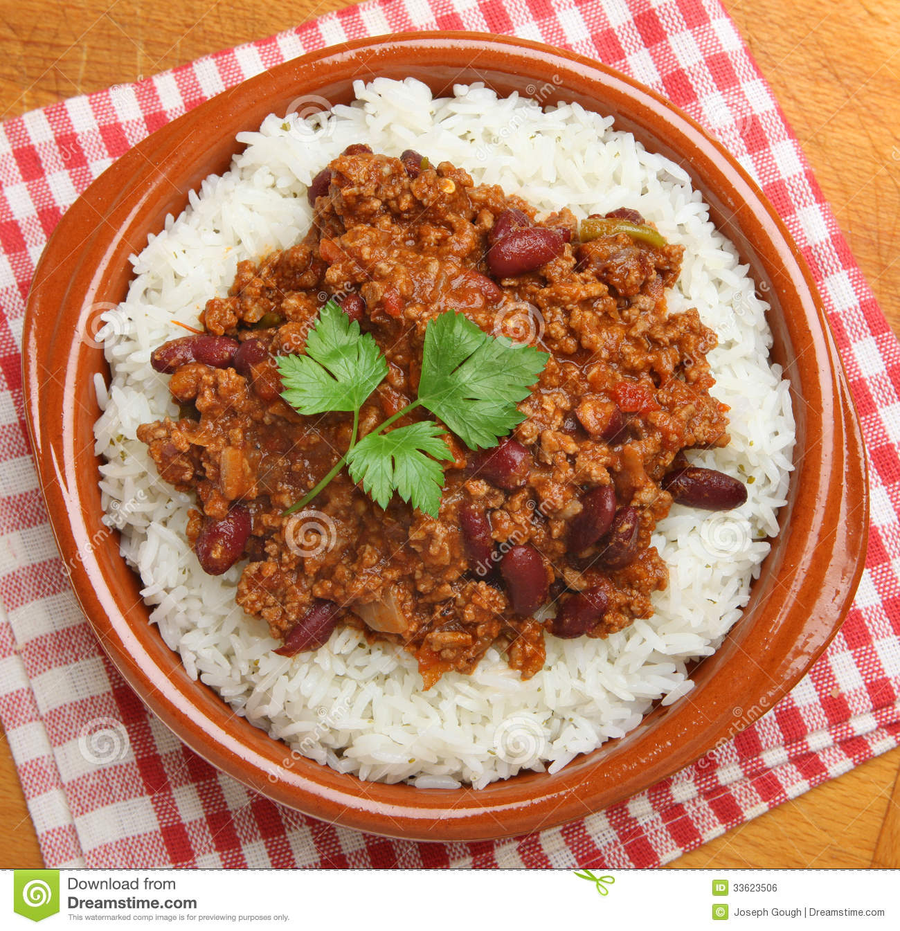 Chili Con Carne & Rijst Lucht Royalty-vrije Stock Afbeelding - Beeld ...