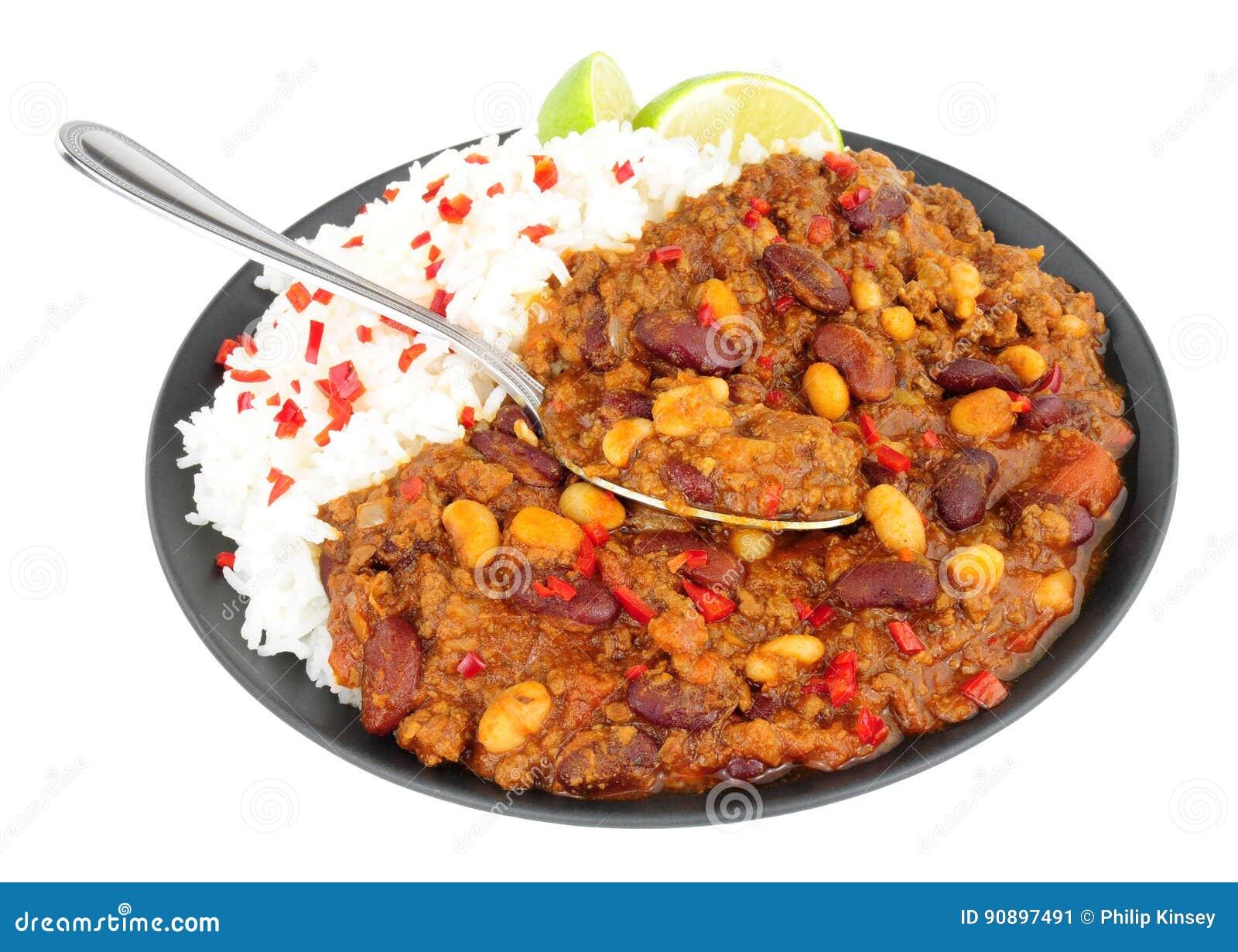 Chili Con Carne Und Gekochter Reis Stockbild Bild Von Fleisch
