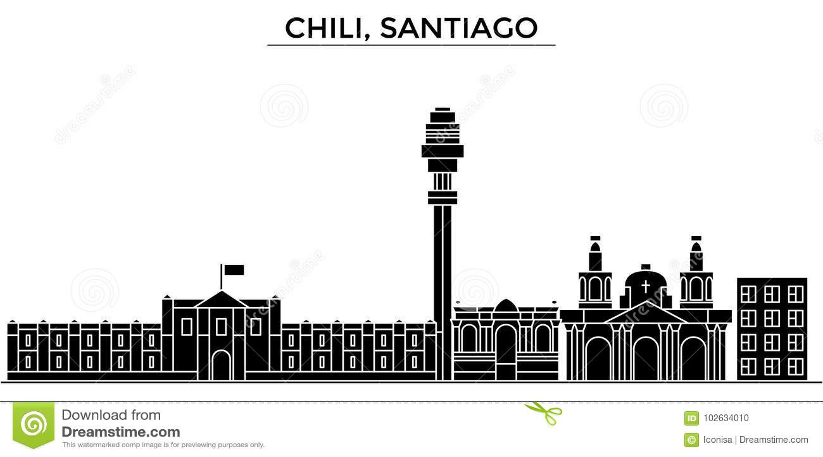 Chili horisont för staden för Santiagoarkitekturvektorn, loppcityscape med gränsmärken, byggnader, isolerade på sikt
