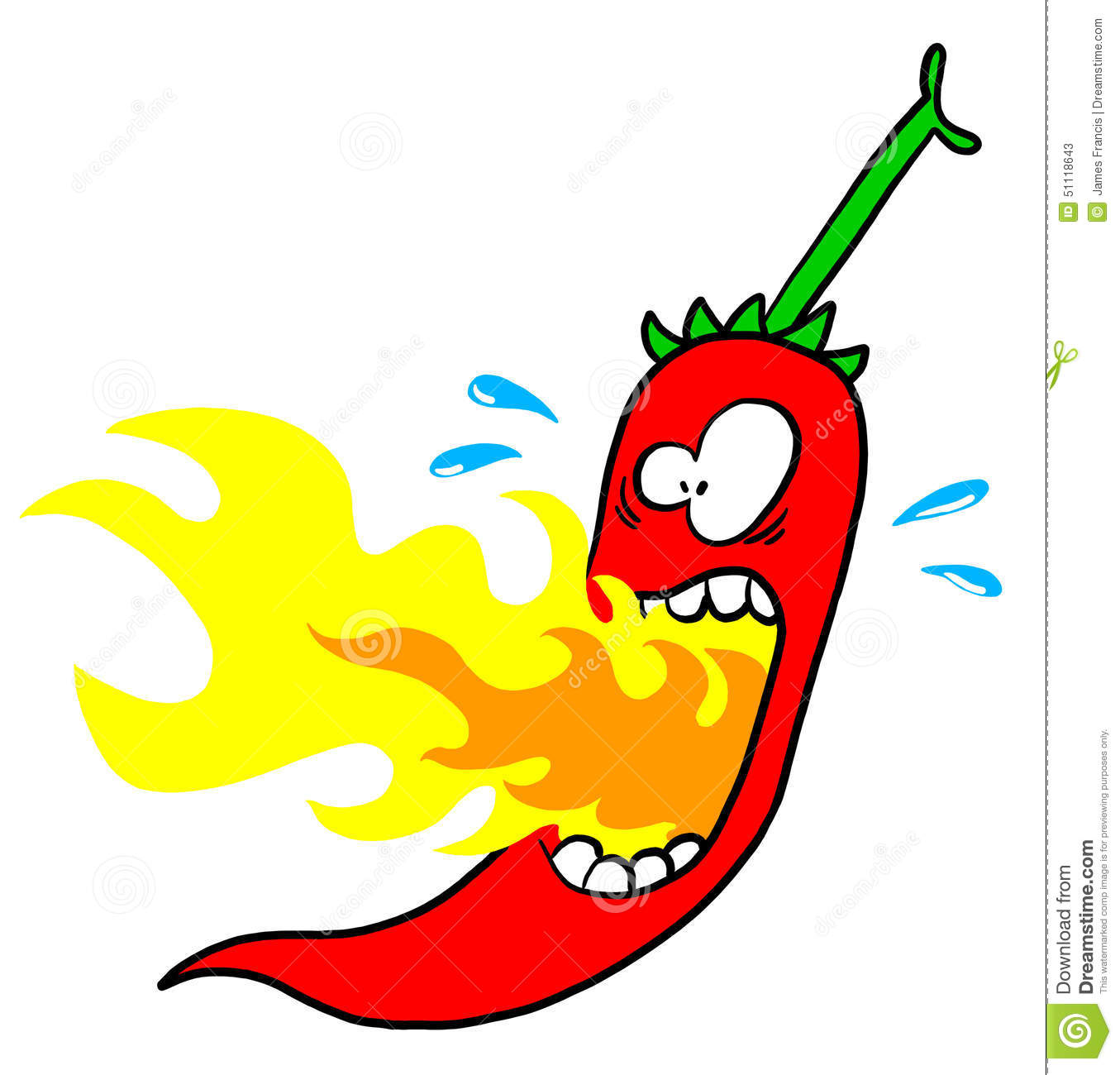 Chili with mouth on fire stock illustration image 51118643