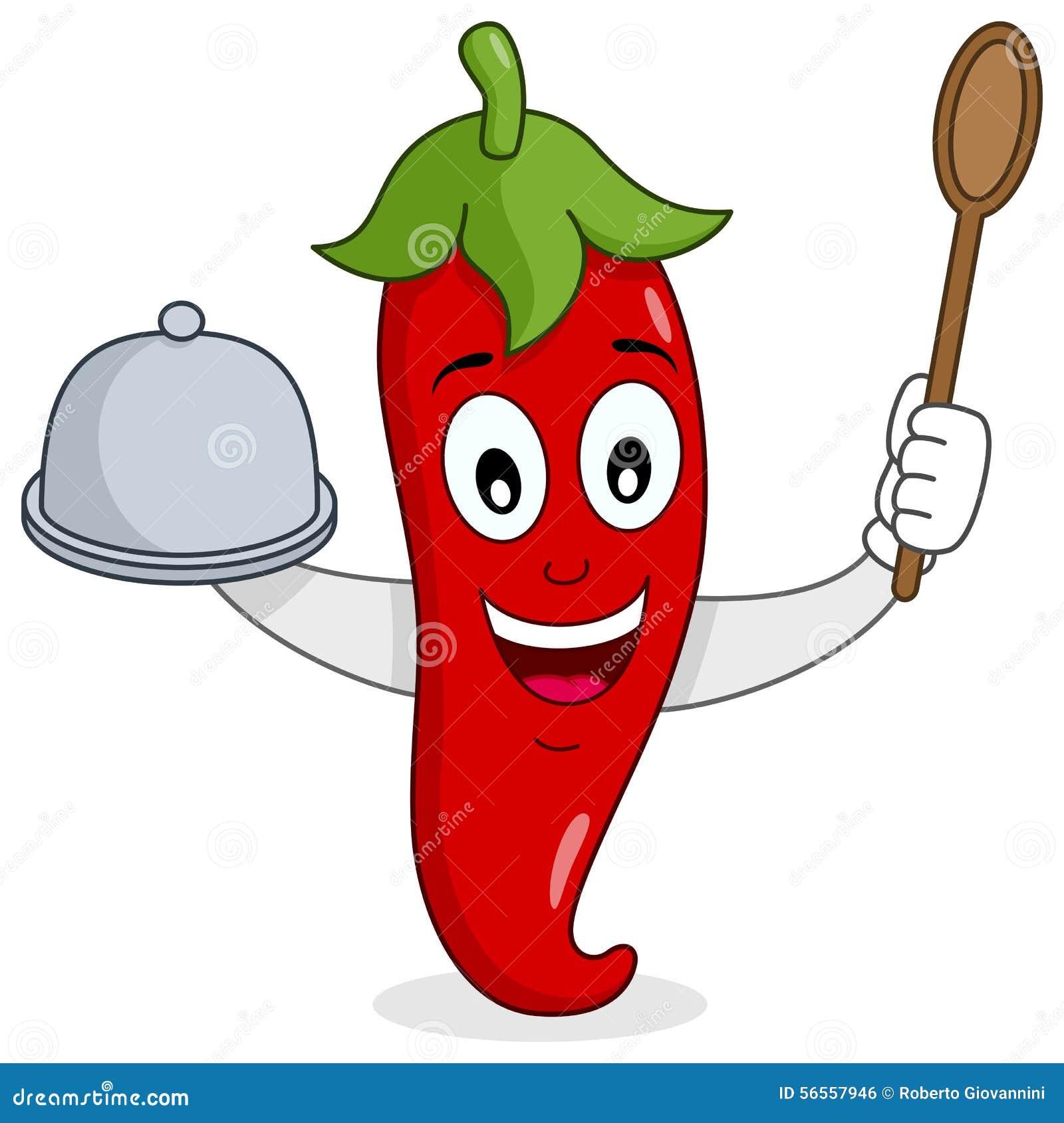 Chili Pepper candente con la bandeja y la cuchara