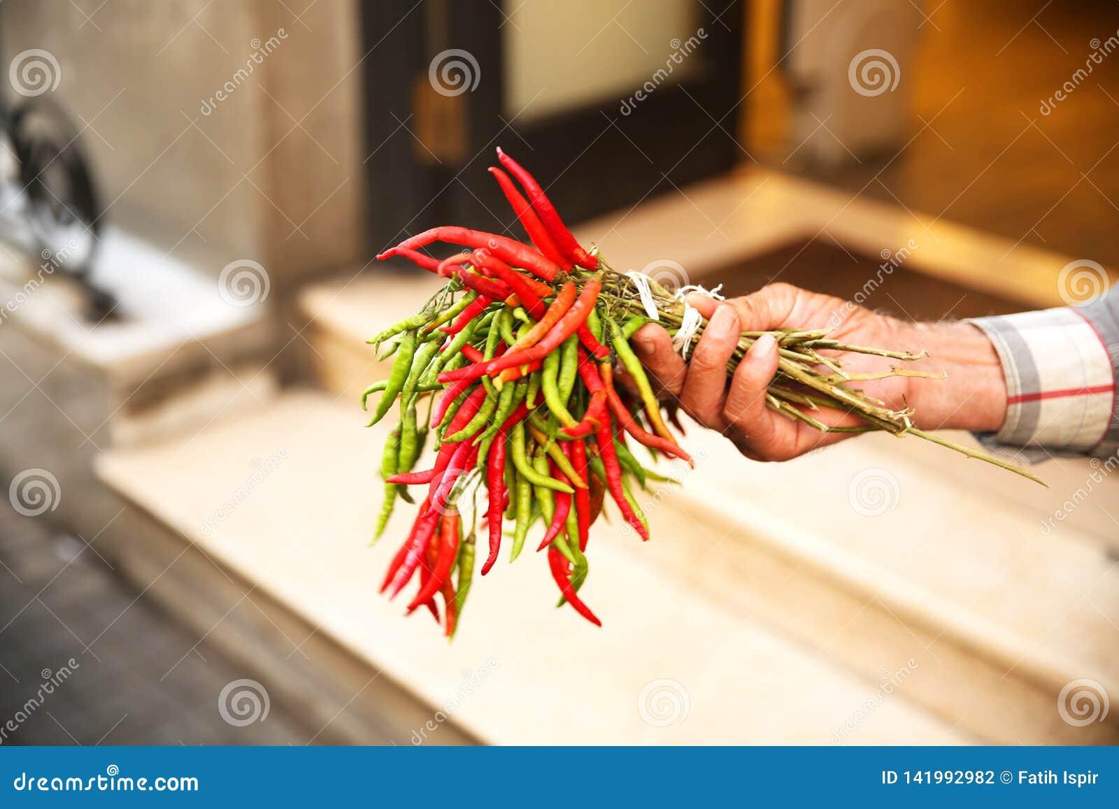 Chili Pepper Seller in Istanbul Beyoglu