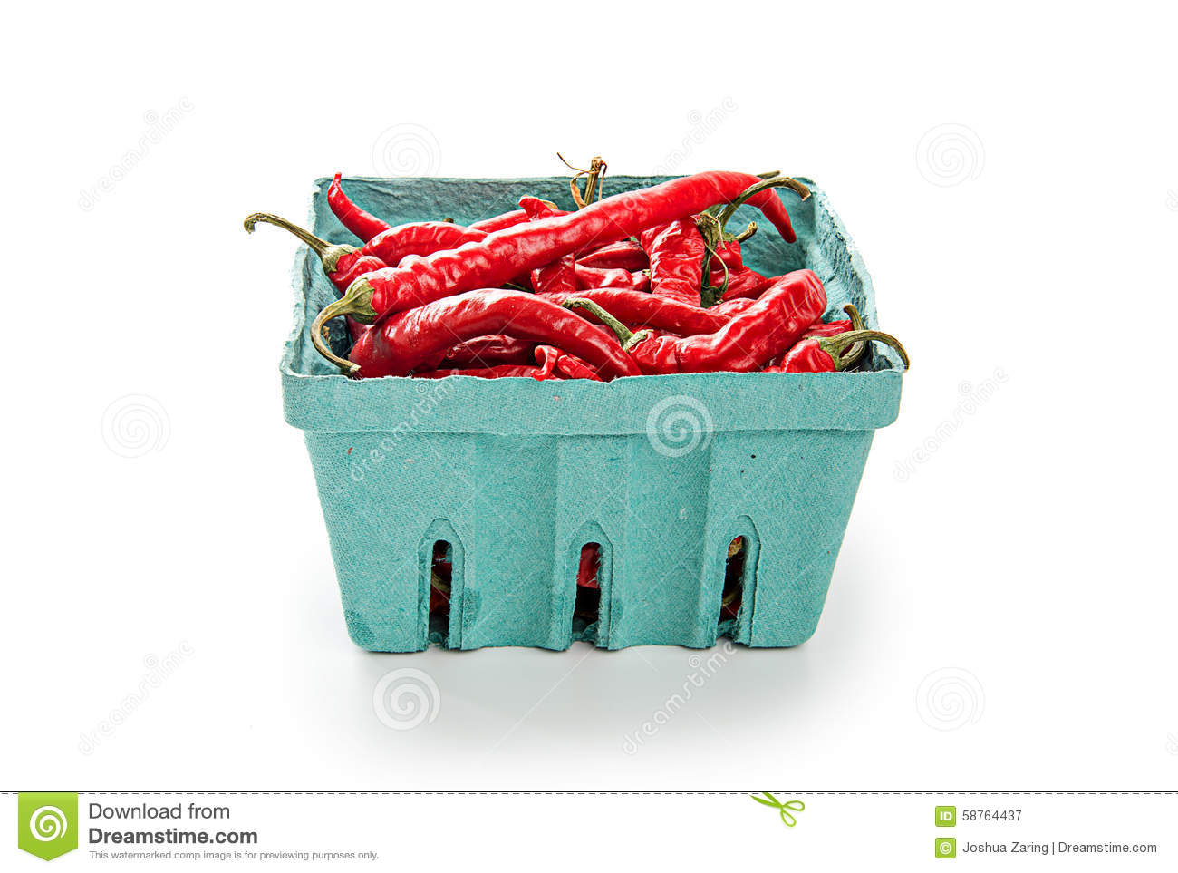 Chili Peppers In Green Container Stock Image Image Of Chile