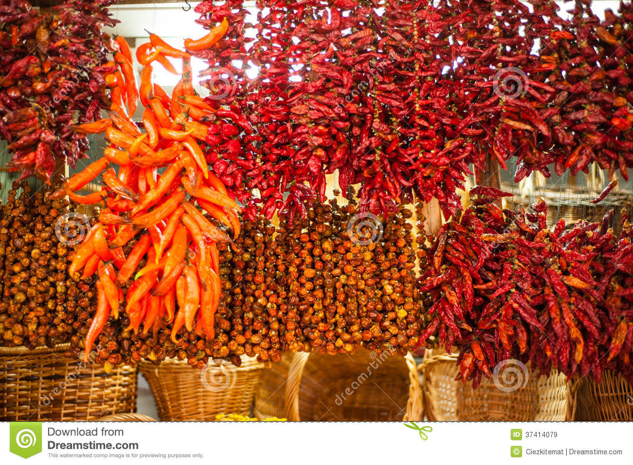 Chili peppers on market stall