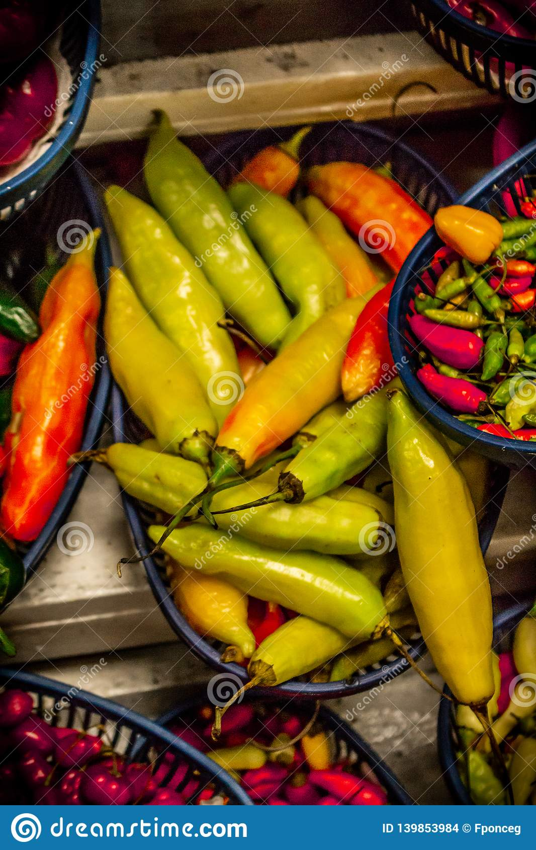 Chili varieties in a market