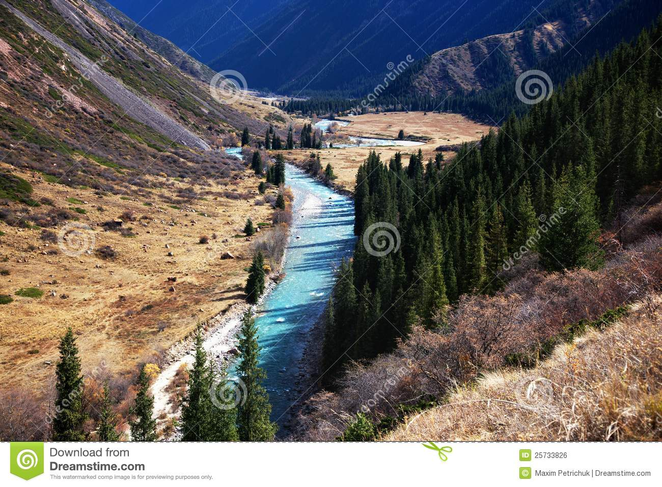 Chilik river in Kazakhstan