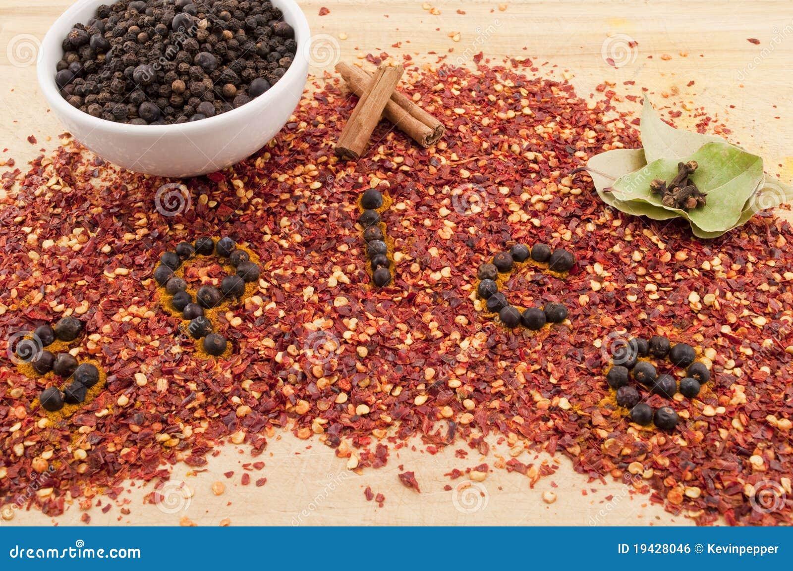Chilin flagar över det skrivna kryddaordet