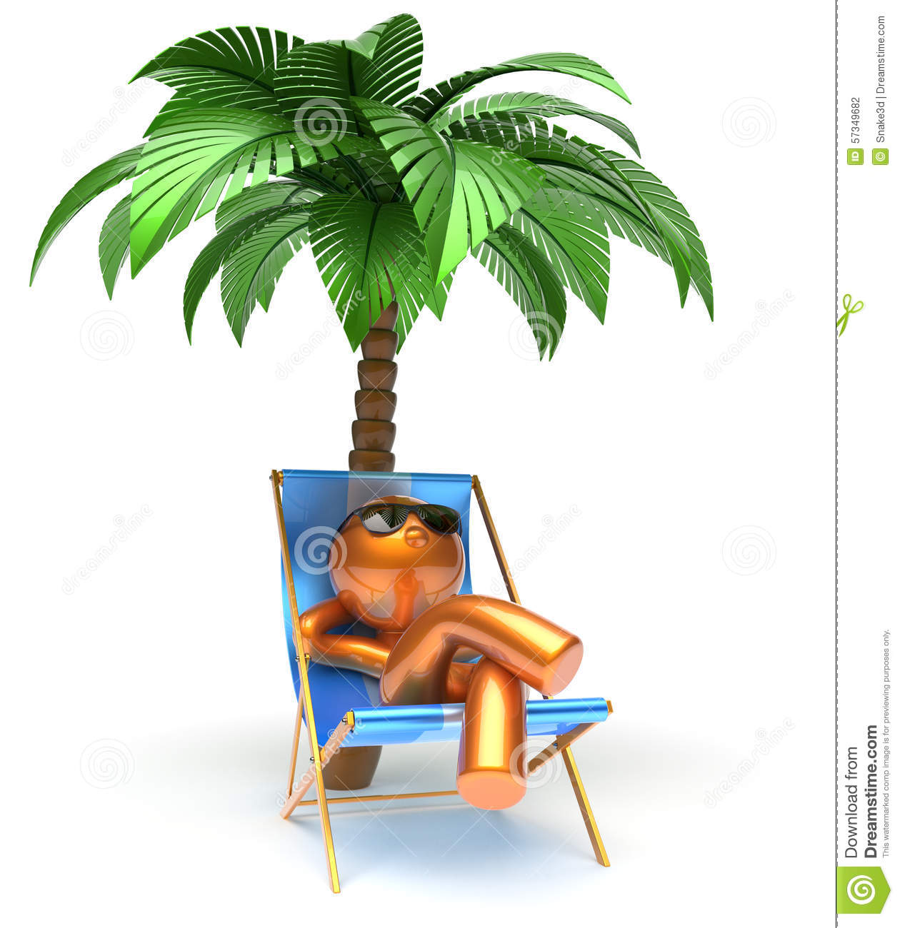 Chilling Man Character Palm Tree Relaxing Beach Deck Chair Stock Illustration Image