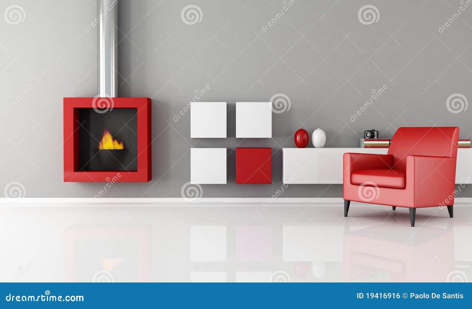 Chimenea minimalista en una sala de estar stock de for Sala de estar blanca