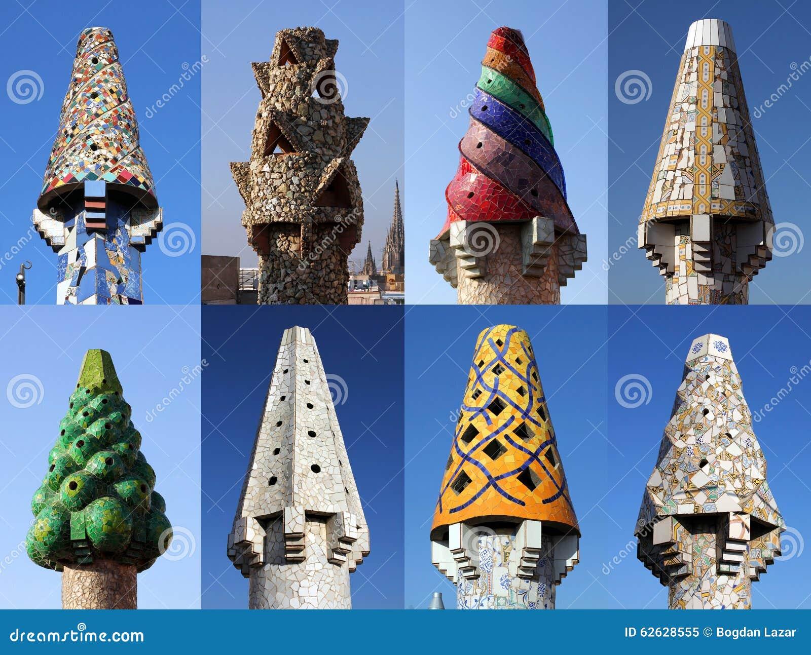Chimeneas coloridas en palau guell barcelona imagen de archivo imagen de catalu a estilo - Chimeneas barcelona ...