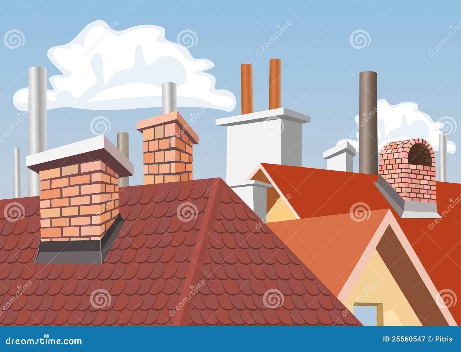 Chimeneas en las azoteas de casas ilustraci n del vector - Dibujos de tejados ...