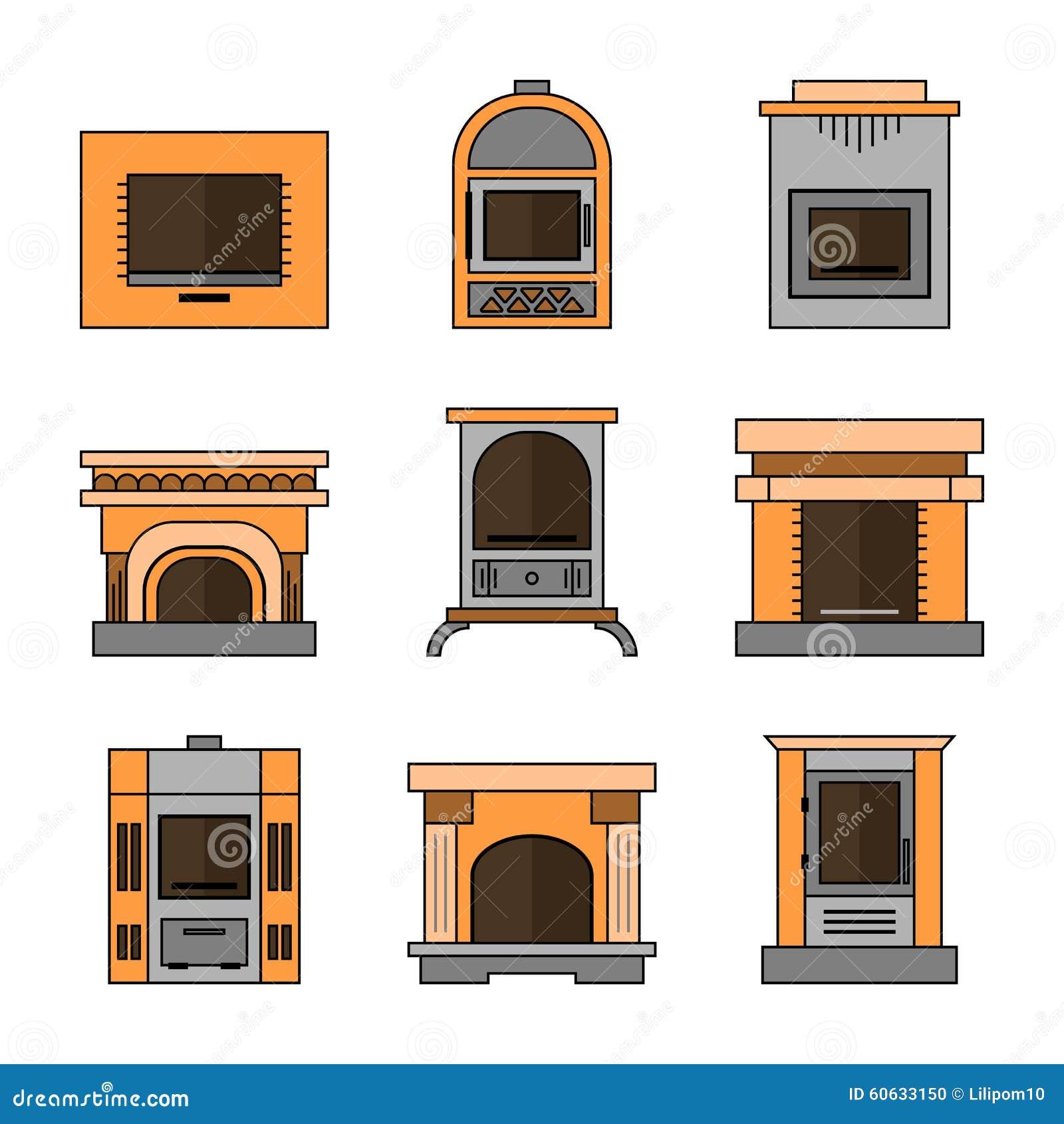 Chimeneas iconos planos ilustraci n del vector imagen - Chimeneas de diseno ...