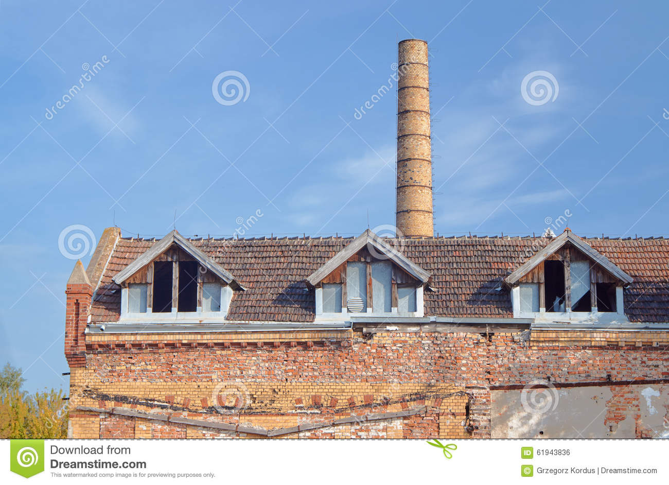 Chimney And Buildings Of The Old Slaughterhouse Stock Photo