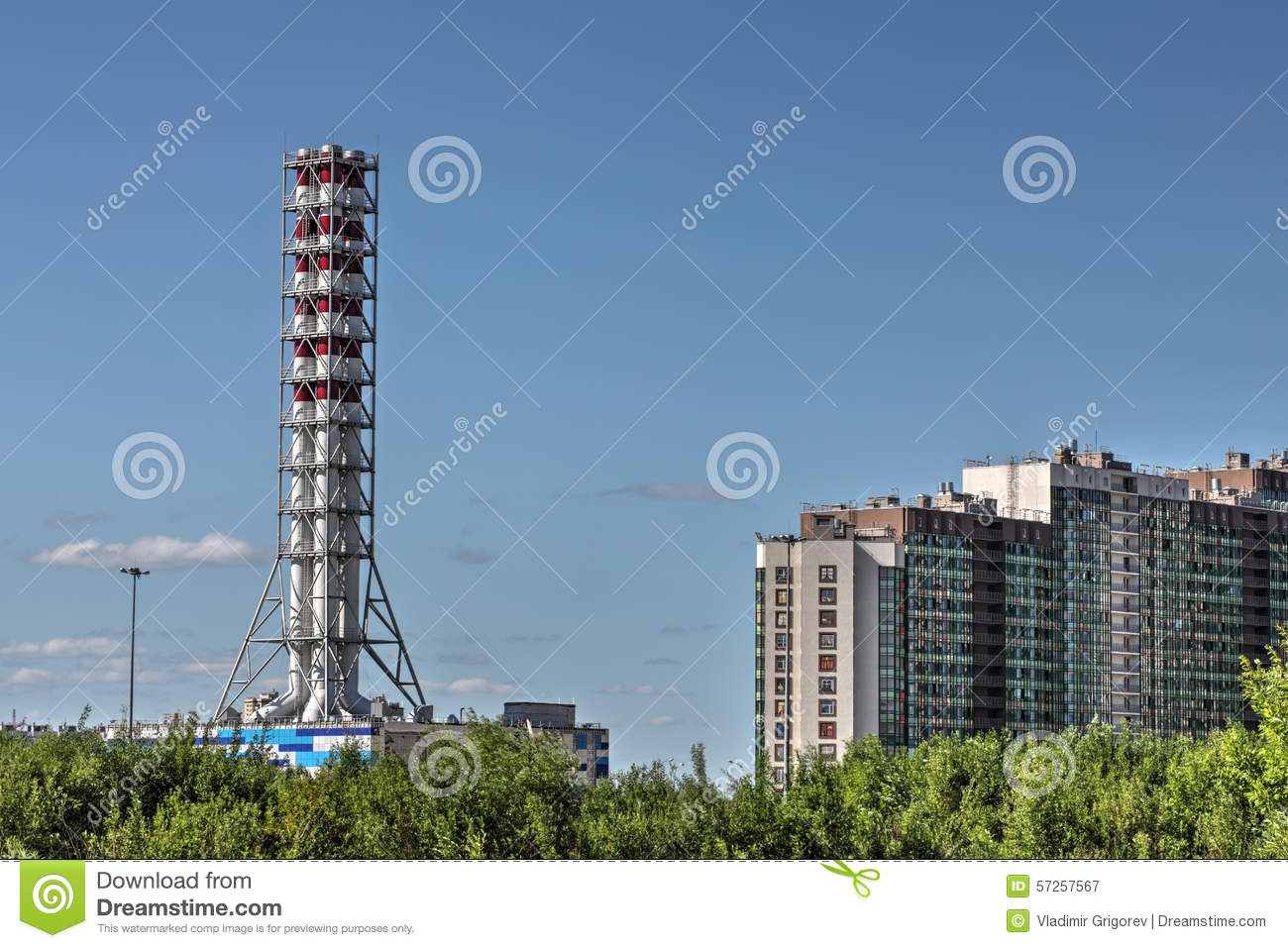 Chimney Industrial Gas Boiler, District Heating Plant, St. Peter ...
