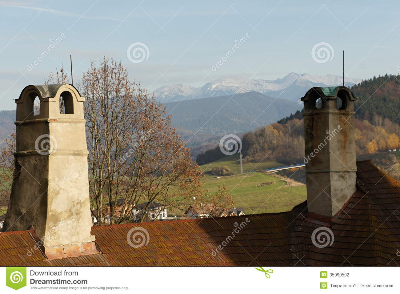 Chimney and roof of Orava castle